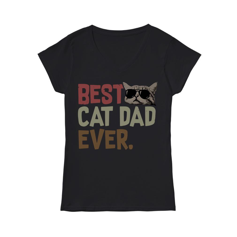 Best cat dad ever V-neck t-shirt
