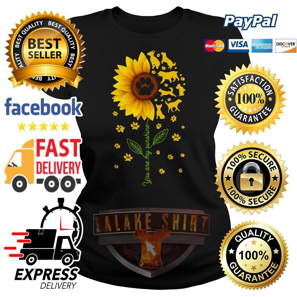 Dogs sunflower you are my sunshine Ladies tee