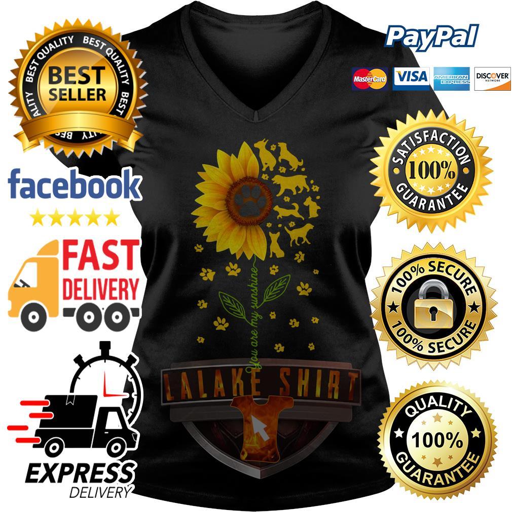 Dogs sunflower you are my sunshine V-neck t-shirt