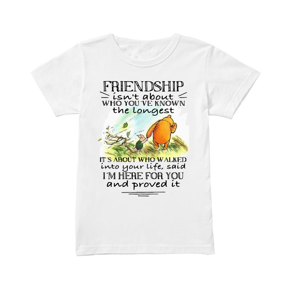 Friendship isn't about who you've known the longest it's about who walked Ladies tee