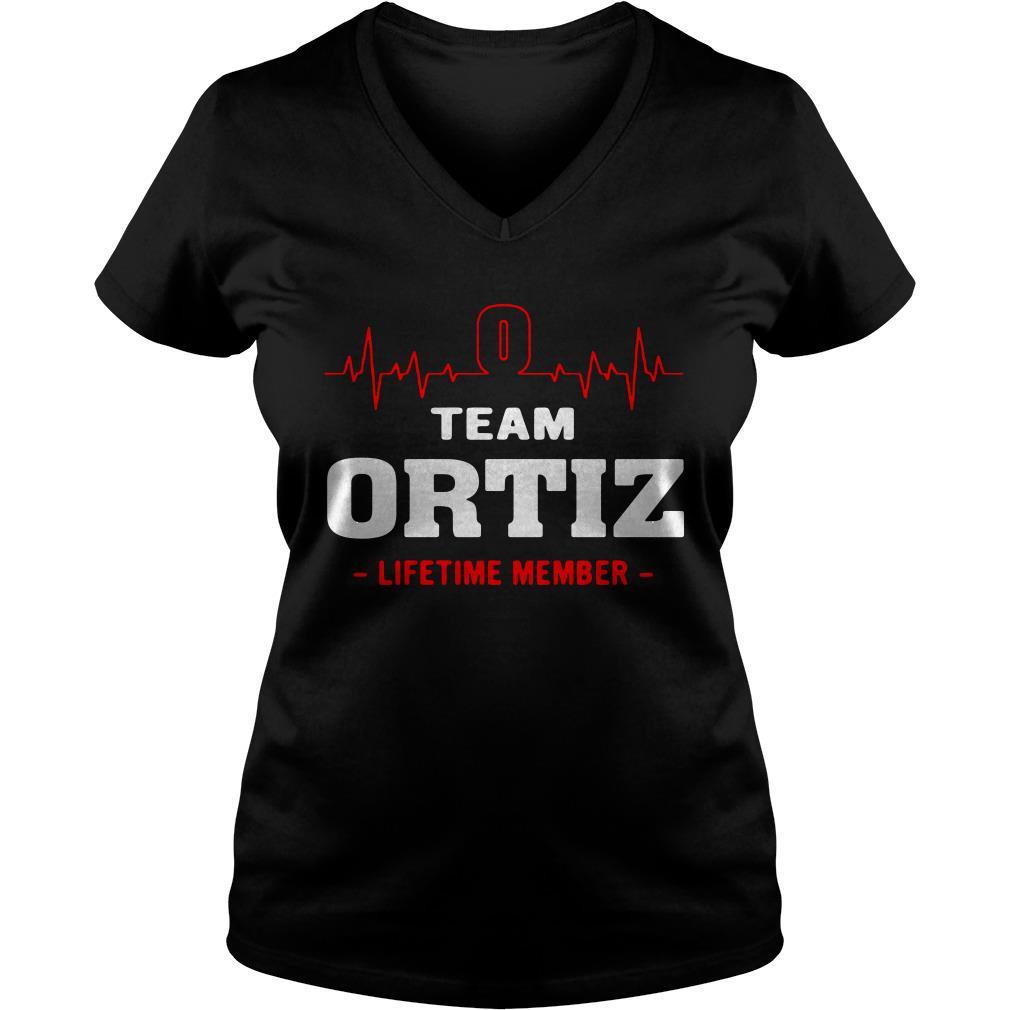 Heartbeat team Ortiz lifetime member V-neck t-shirt