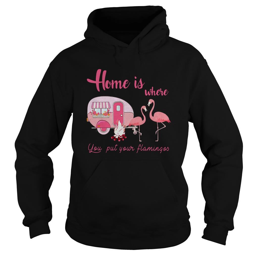 Home is where you put your Flamingos camping Hoodie