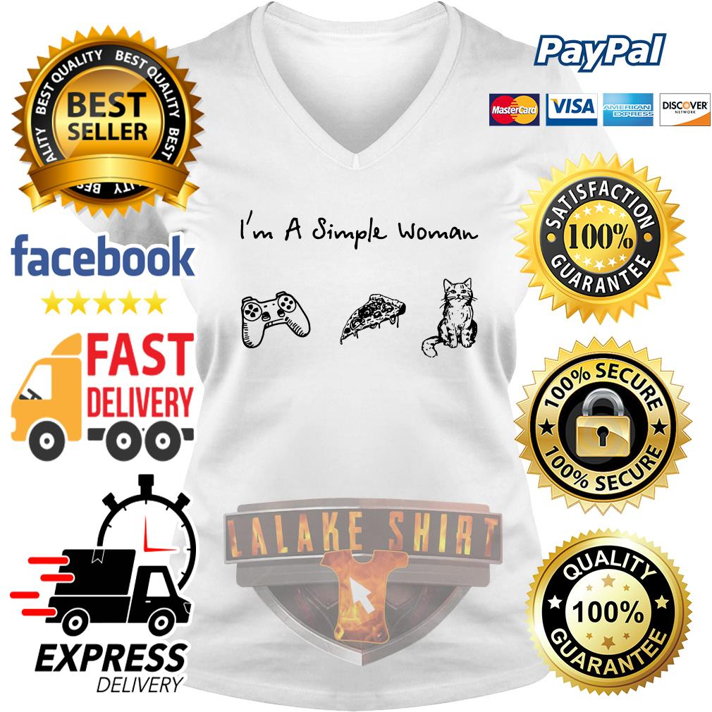 I'm a simple woman I like game pizza and cat V-neck t-shirt