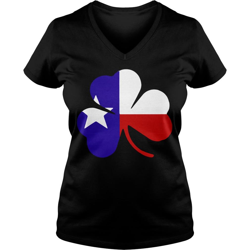 Irish Texas Flag Shamrock St Patricks V-neck t-shirt