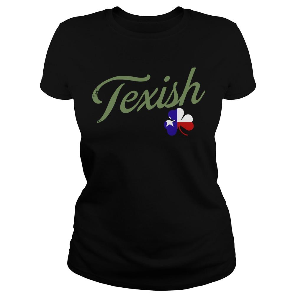 Irish Texish Shamrock St Patricks Ladies tee