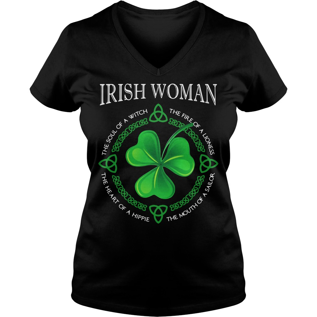 Irish woman the soul of a witch the fire of a lioness V-neck t-shirt