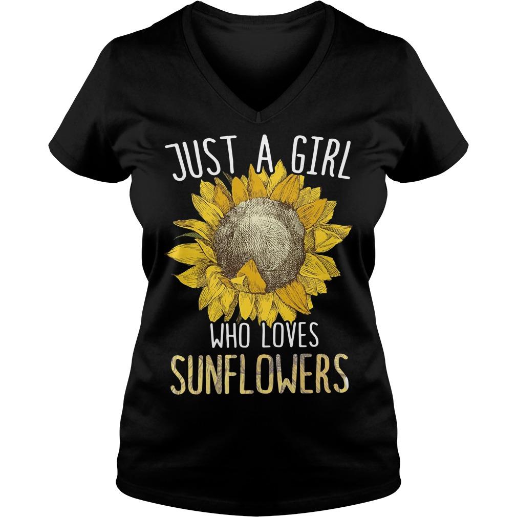 Just a girl who loves Sunflowers V-neck t-shirt