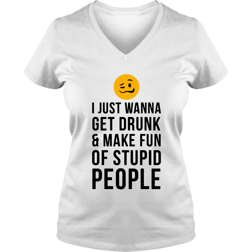 I just wanna get drunk and make fun of stupid people V-neck t-shirt