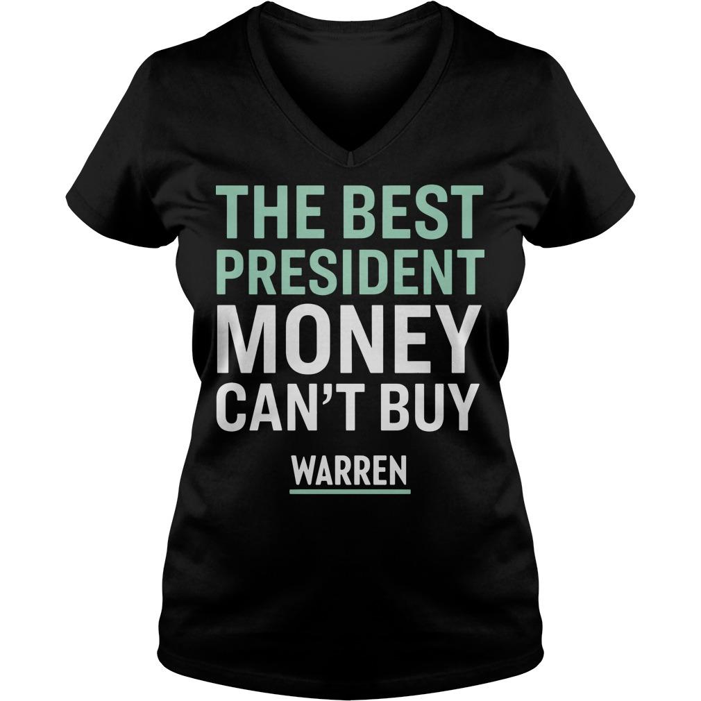 Official The best president money can't buy Warren V-neck t-shirt