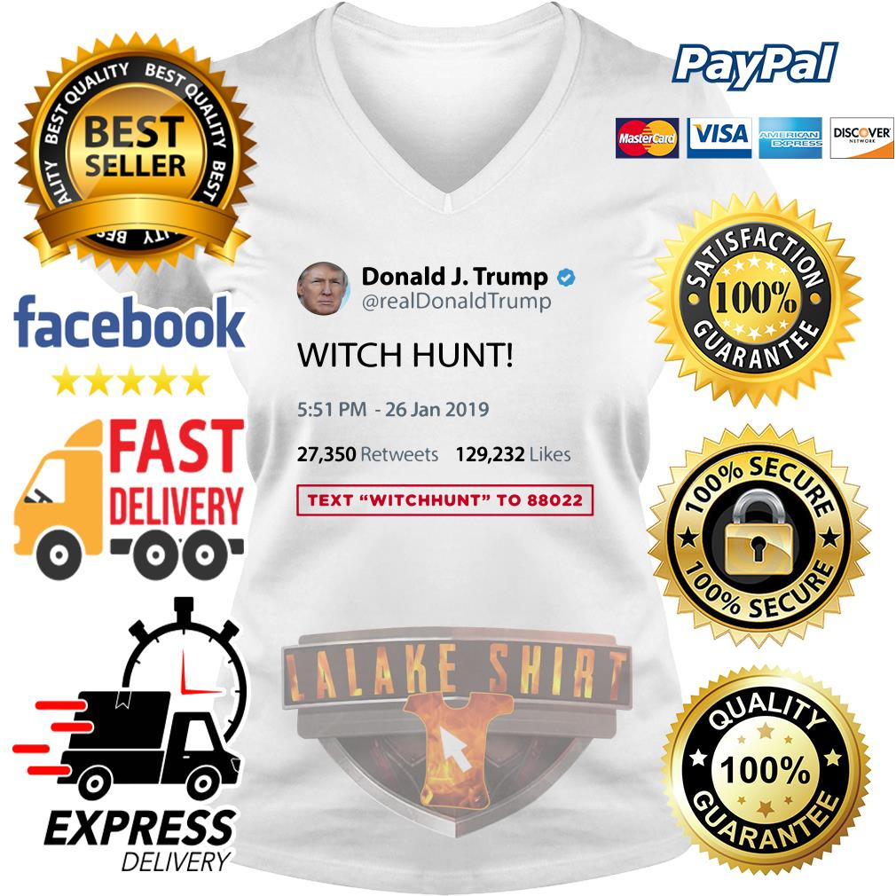 Official Donald J.Trump witch hunt text witchhunt V-neck t-shirt