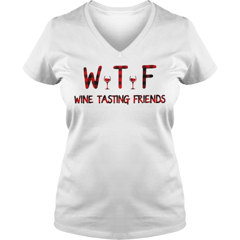 WTF wine tasting friends V-neck t-shirt