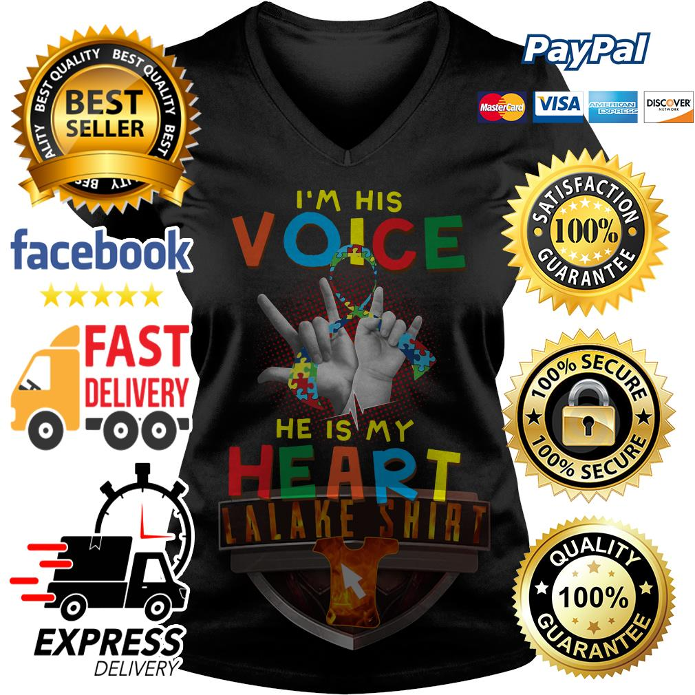 Autism I am his voice he is in my heart V-neck t-shirt