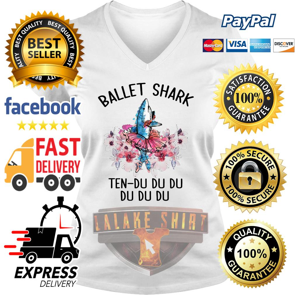 Ballet shark ten du du du du du V-neck t-shirt