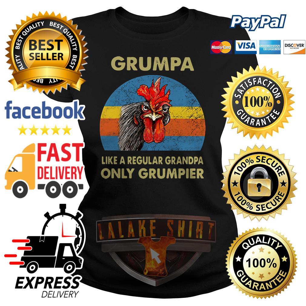 Chicken Grumpy like a regular grandpa only grumpier vintage Ladies tee