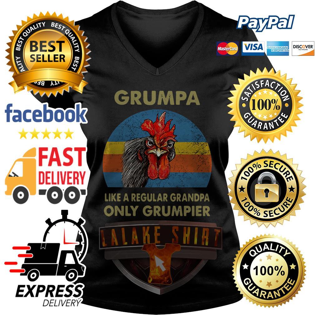 Chicken Grumpy like a regular grandpa only grumpier vintage V-neck t-shirt