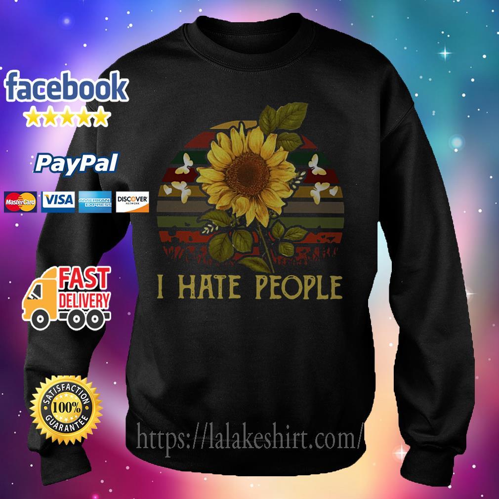 I hate people Sunflower Vintage Sweater