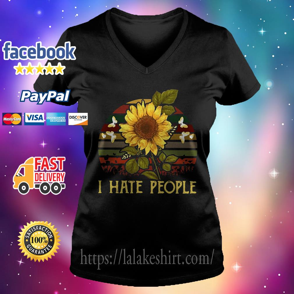 I hate people Sunflower Vintage V-neck t-shirt