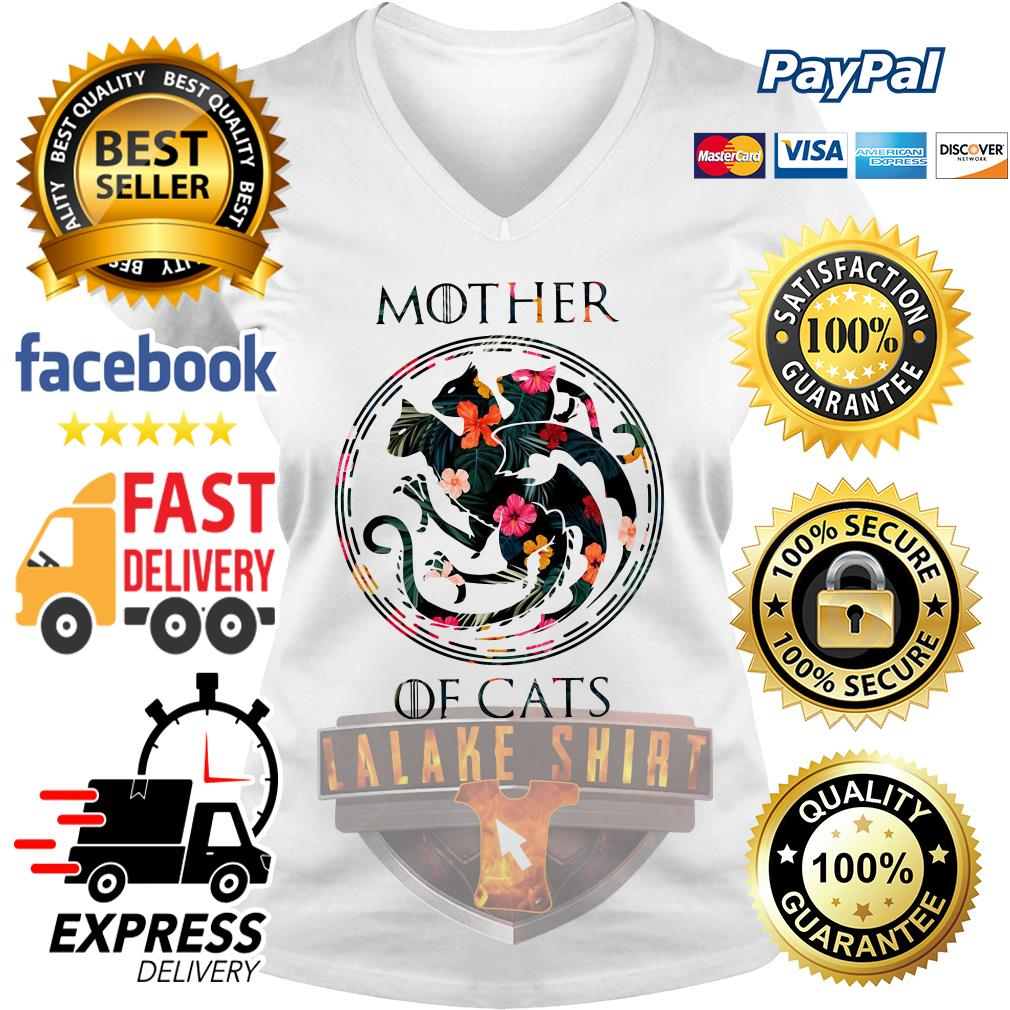 Mother of cat game of throne V-neck t-shirt