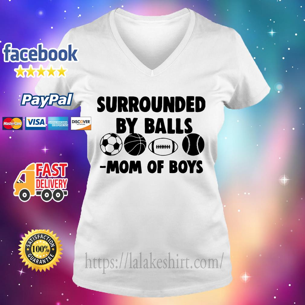 Surrounded by balls mom of boys V-neck t-shirt