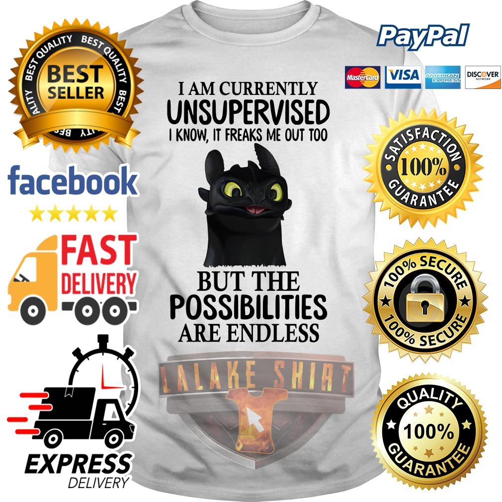 Toothless I am currently I know it freaks me out too but the possibilities are endless shirt