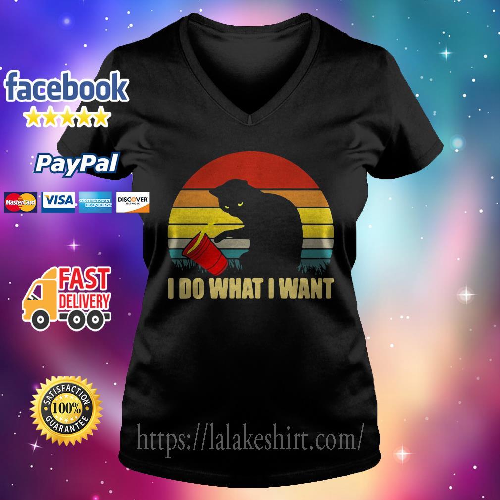I do what I want cat Vintage V-neck t-shirt