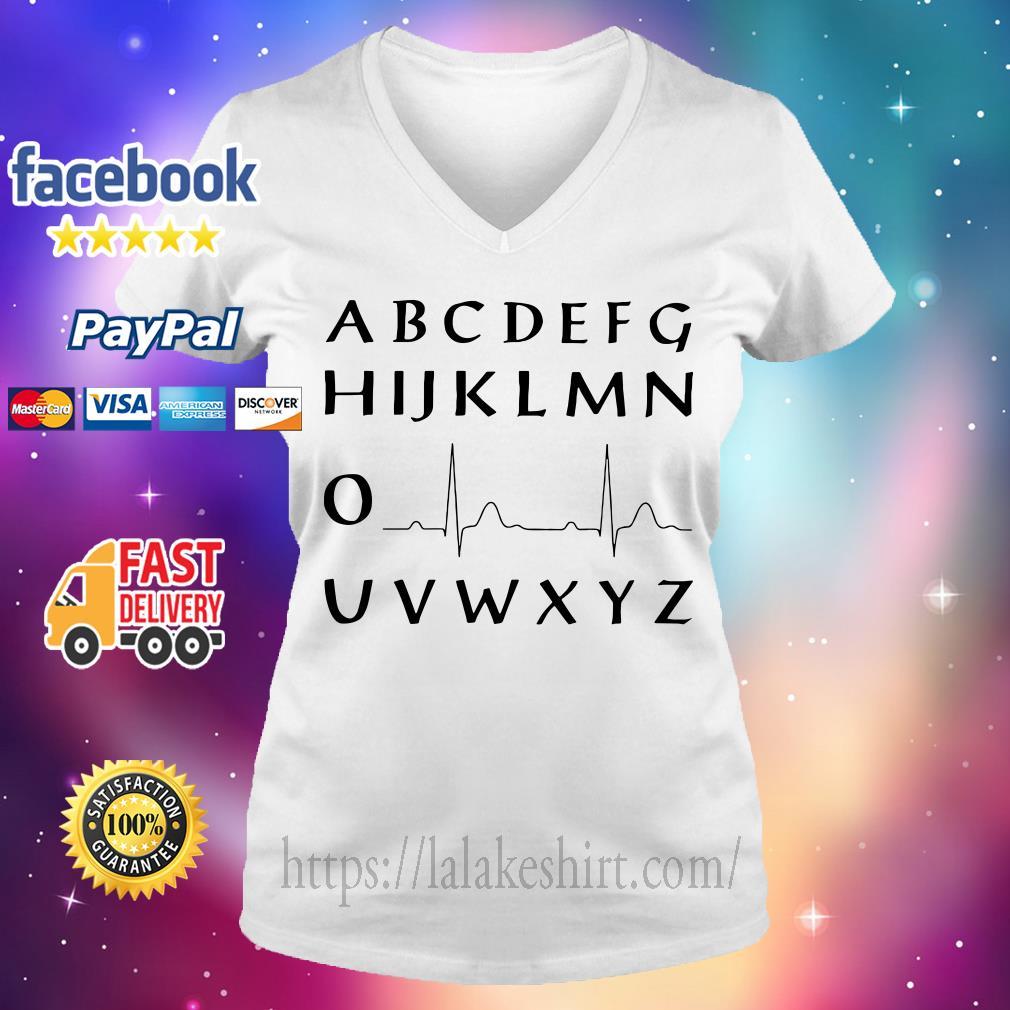 Alphabet heartbeat V-neck t-shirt
