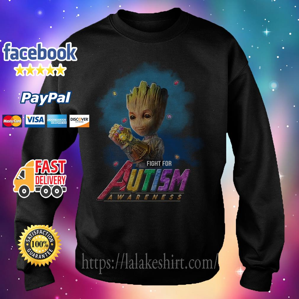 Baby Groot Infinity Gauntlet fight for Autism awareness Sweater