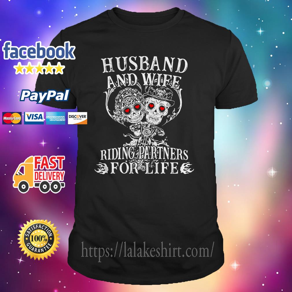 Biker husband and wife riding partners for life shirt