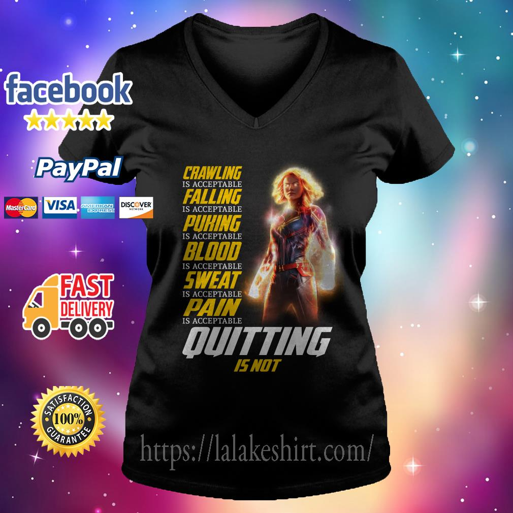 Captain Marvel crawling is acceptable falling is acceptable puking is acceptable V-neck t-shirt