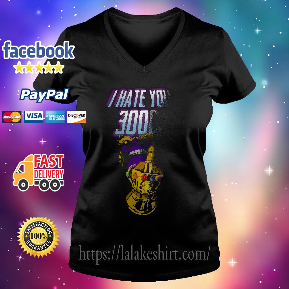 Infinity Gauntlet middle finger I hate you 3000 Thanos V-neck t-shirt
