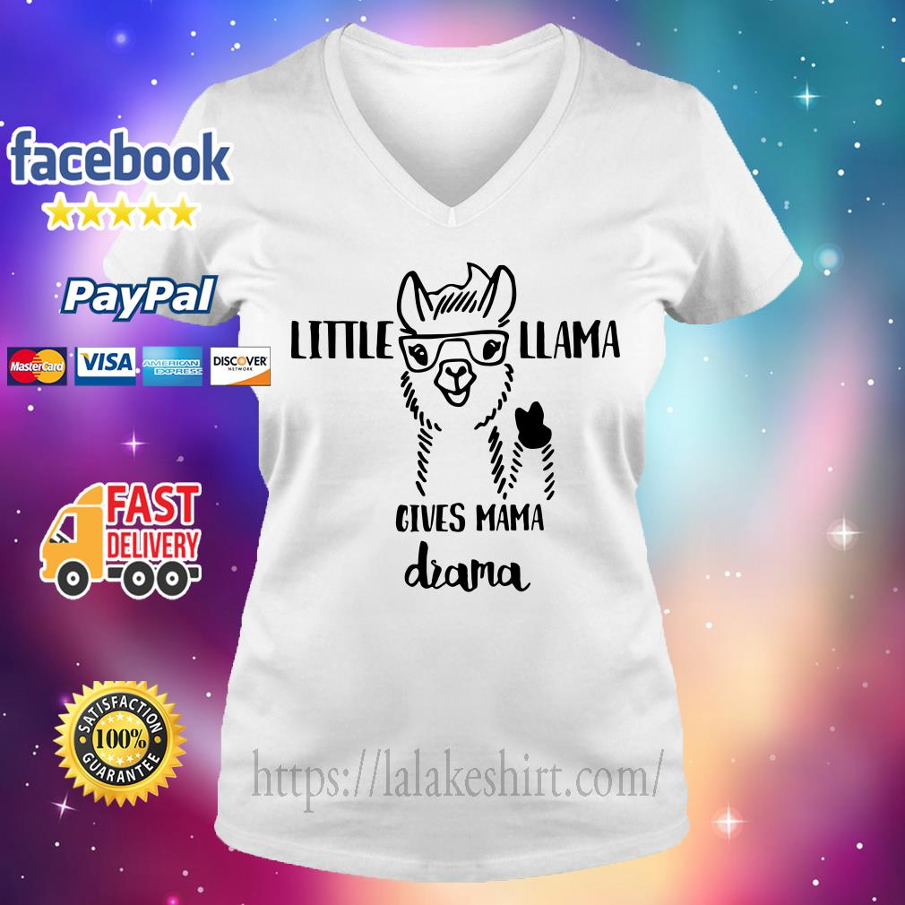 Little Llama gives mama drama V-neck t-shirt