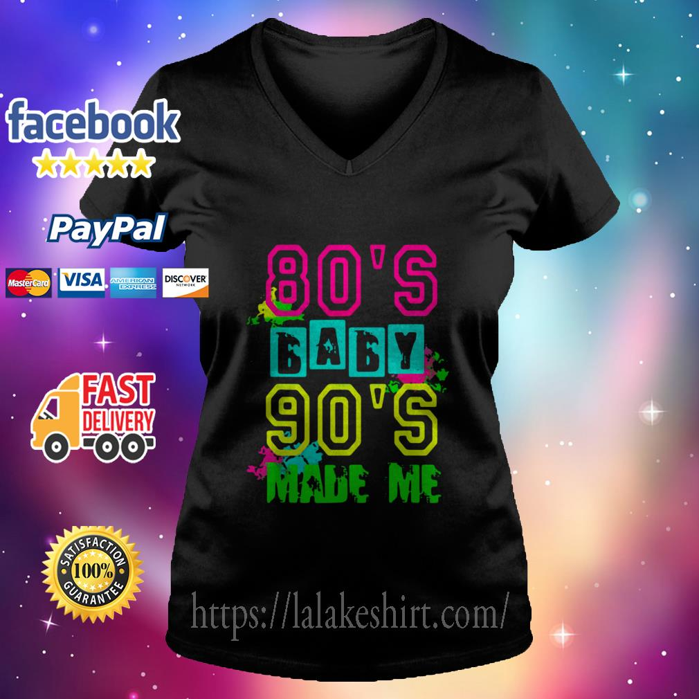 80s Baby 90s Made Me Vintage Retro V neck t shirt