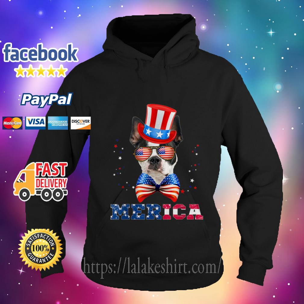 American Flag Merica Patriotic Boston Terrier 4th Of July Hoodie