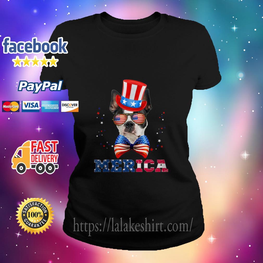 American Flag Merica Patriotic Boston Terrier 4th Of July Ladies tee