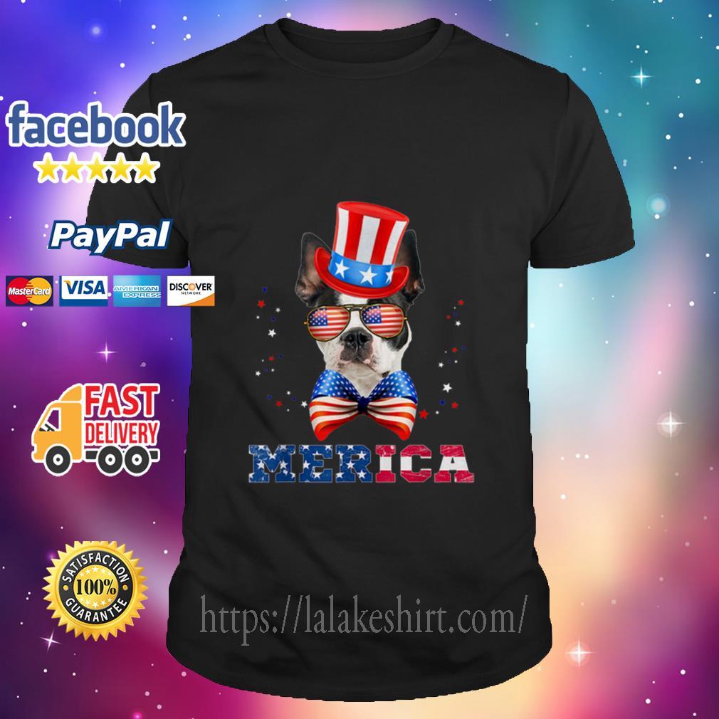 American Flag Merica Patriotic Boston Terrier 4th Of July Shirt