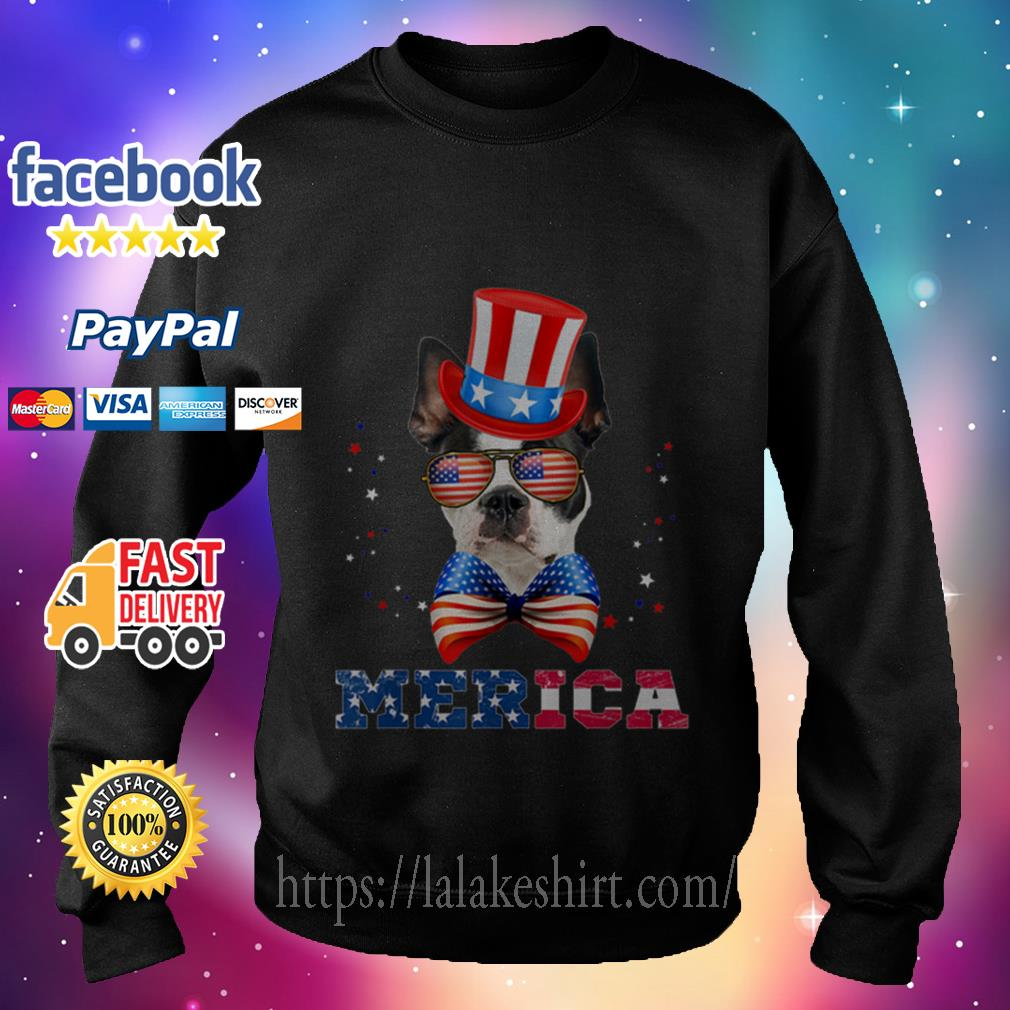 American Flag Merica Patriotic Boston Terrier 4th Of July Sweater