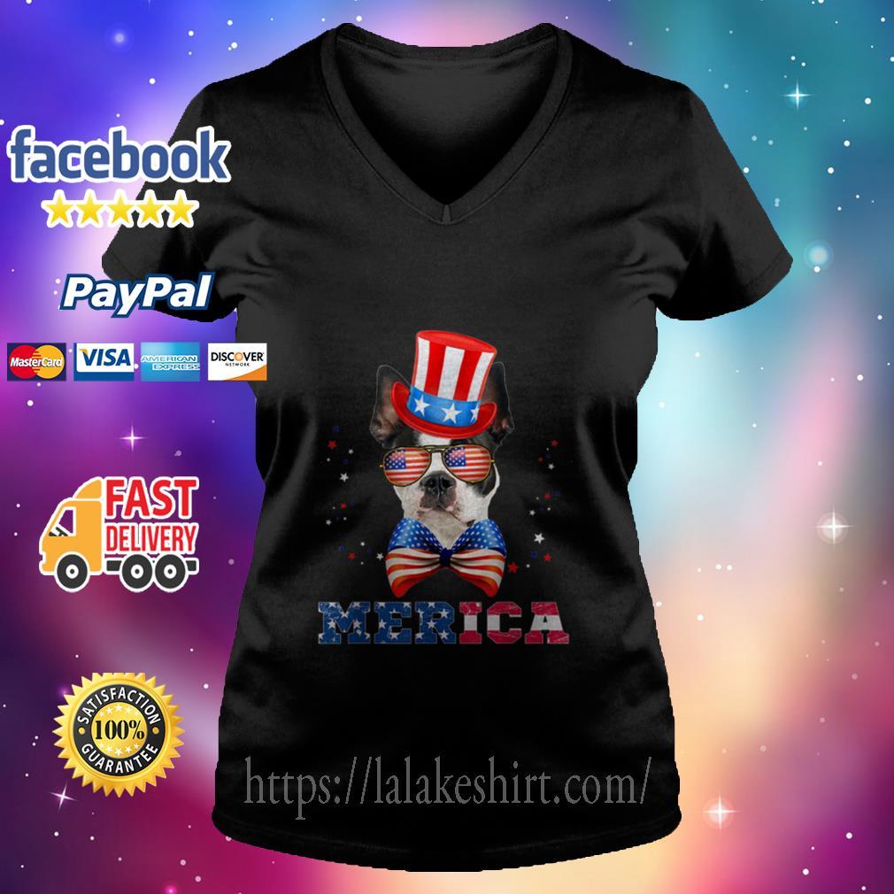 American Flag Merica Patriotic Boston Terrier 4th Of July V neck T shirt