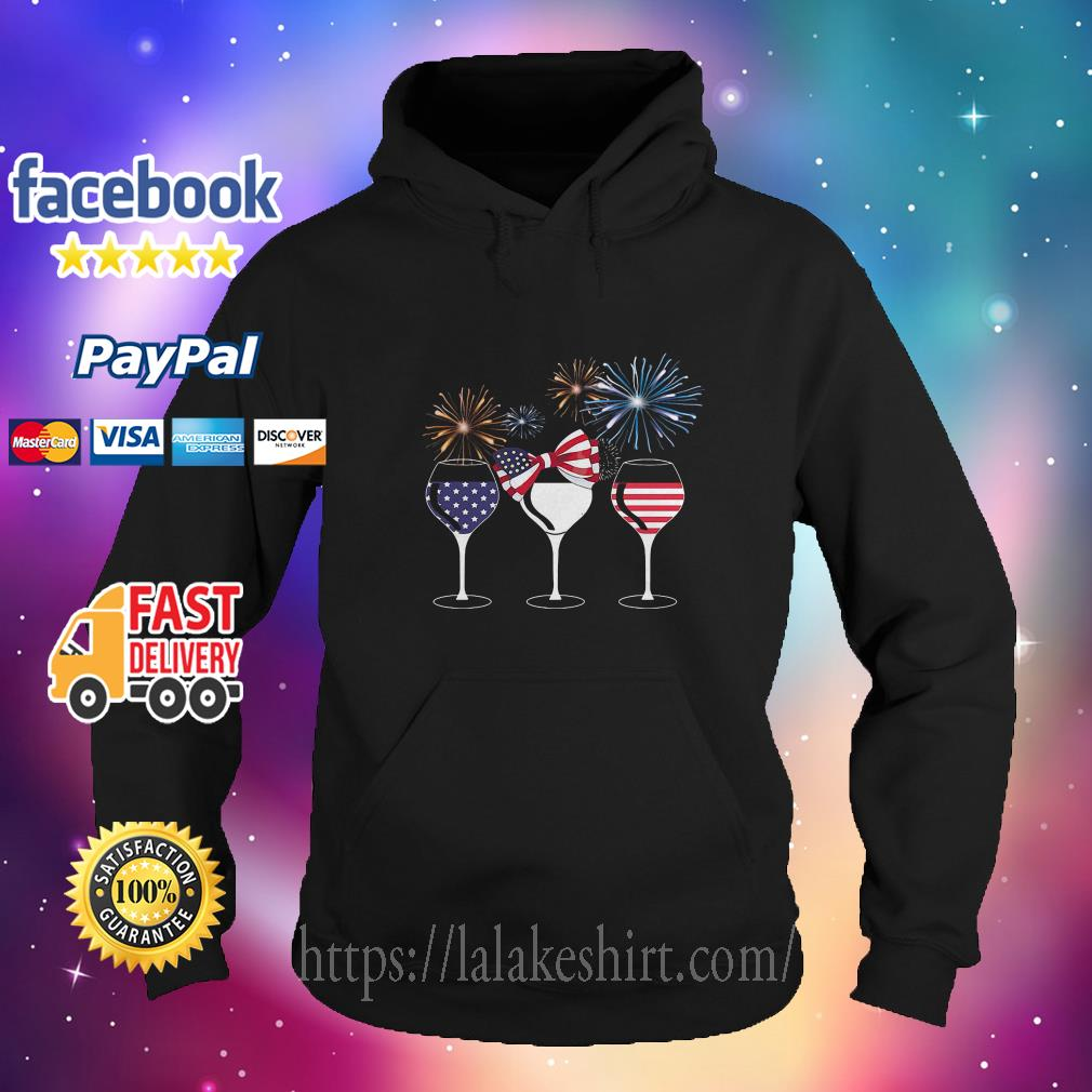 American Flag Wine For Independence Day hoodie