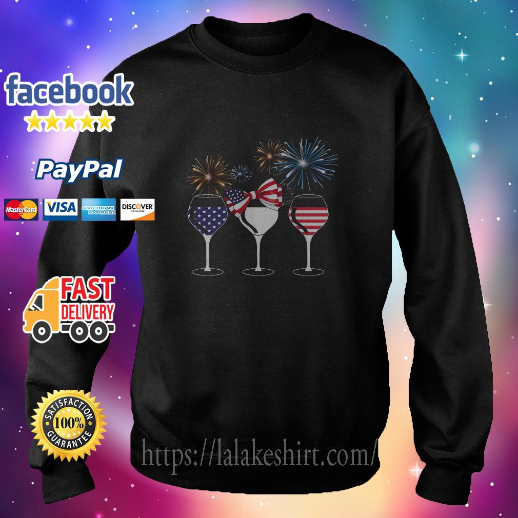 American Flag Wine For Independence Day sweater