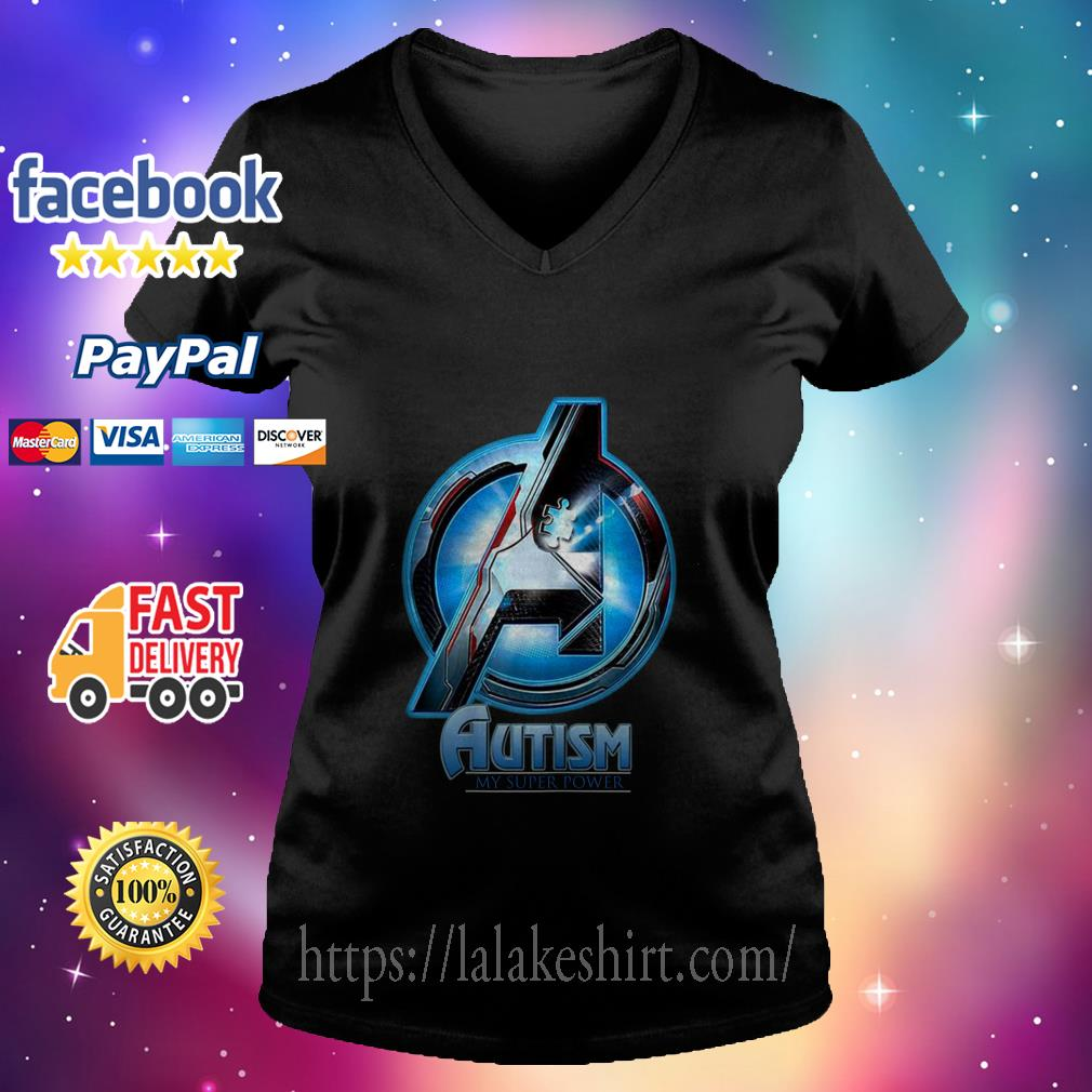 Avenger logo Autism my super power v neck t shirt