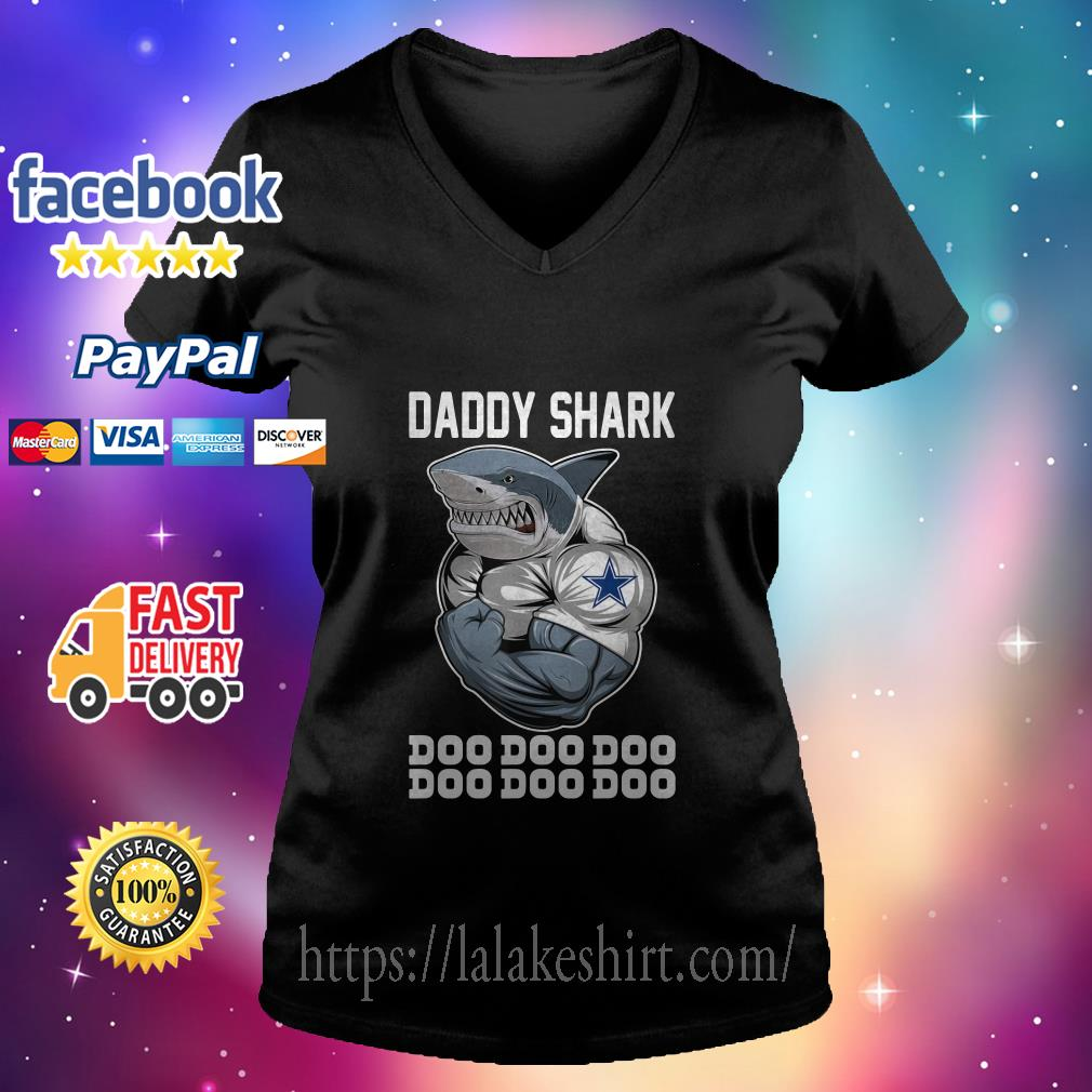 Daddy Shark-Body Building Dallas Cowboy Doo Doo v neck t shirt