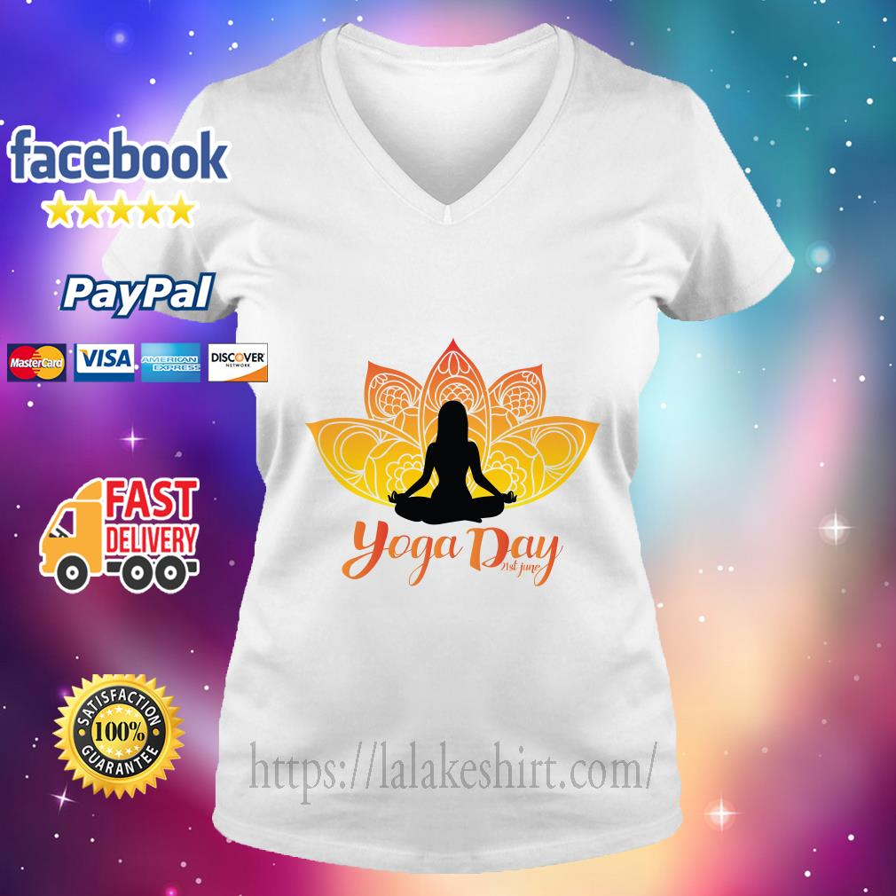 International Yoga Day v neck t shirt