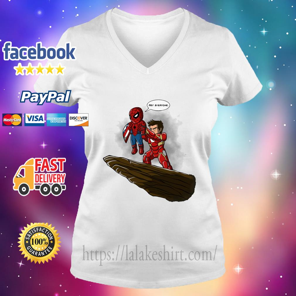 Lion King Spider Man And Iron Man hey everyone v neck t shirt