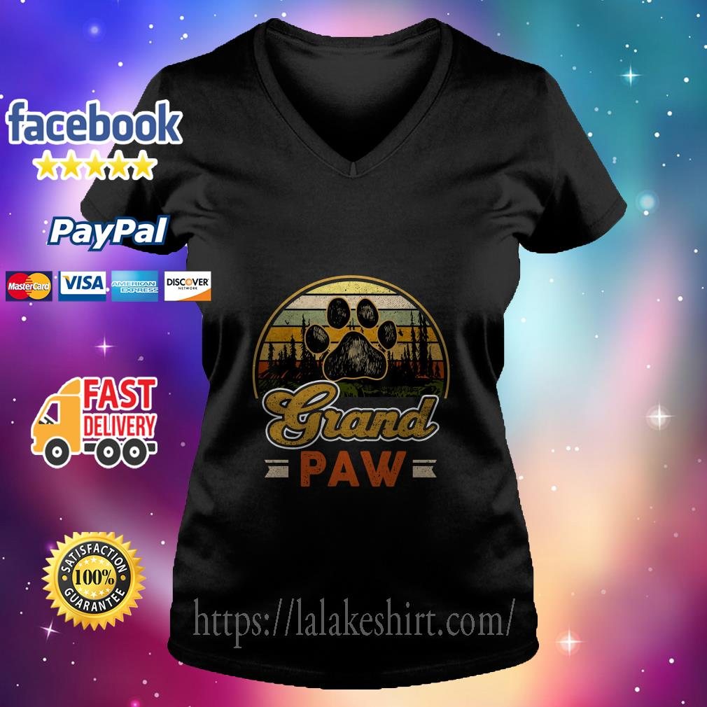 Vintage grand paw dog lover v neck t shirt