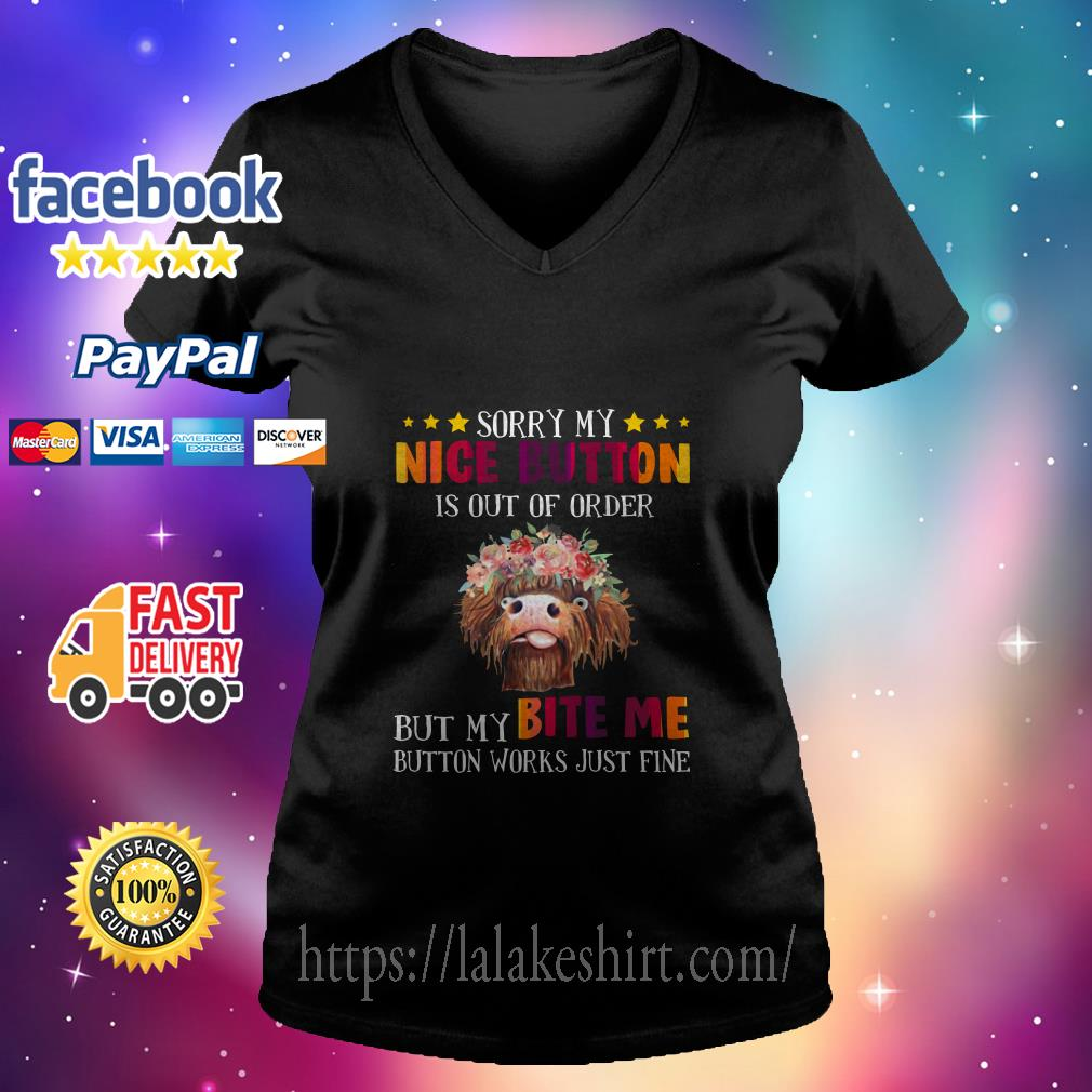 Sloth Sorry My Nice Button Is Out Of Order But My Bite Me Button Works Just Fine V neck T shirt
