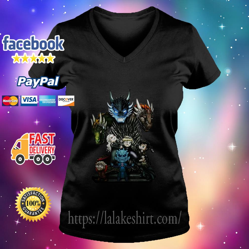 Who Will Be The King Game of Thrones Chibi v neck t shirt