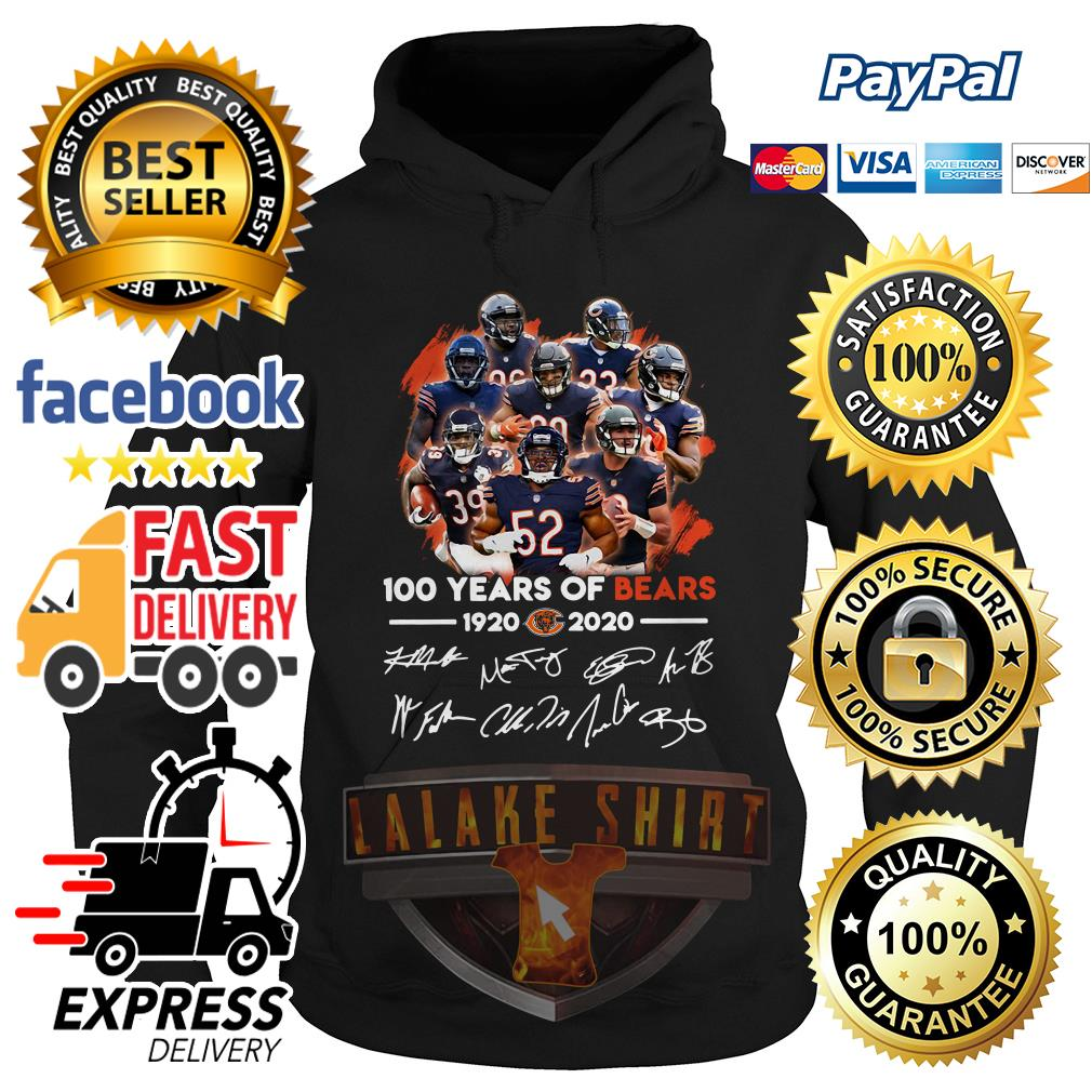 100 years of Chicago Bears 1920 2020 signature hoodie