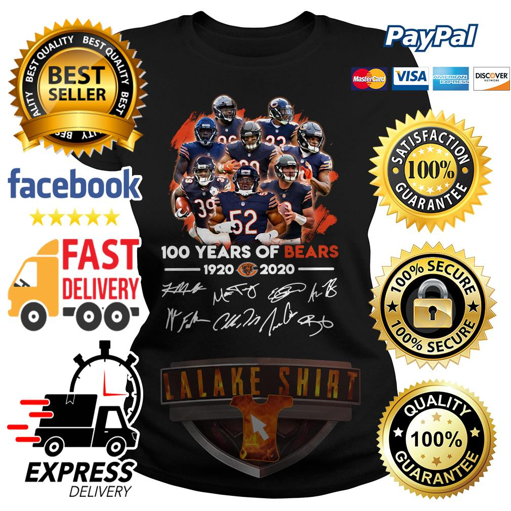 100 years of Chicago Bears 1920 2020 signature ladies tee