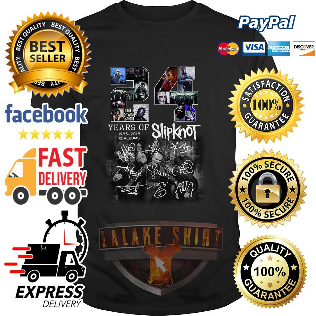 24 years of 1995 2019 12 albums Slipknot signature Halloween shirt