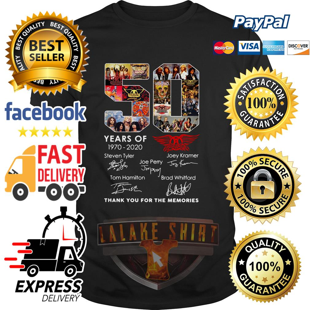 50 years of 1970 2020 Aerosmith thank you for the memories shirt